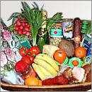 Gourmet food basket with wine